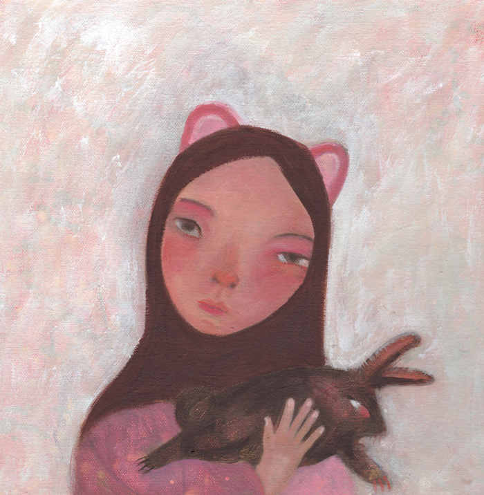 'Mouse Girl Holding Black Bunny' Siobhan Purdy