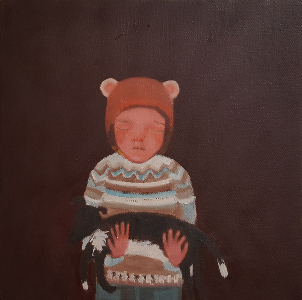 Siobhan Purdy 'Mouse Girl holding Black Dog'