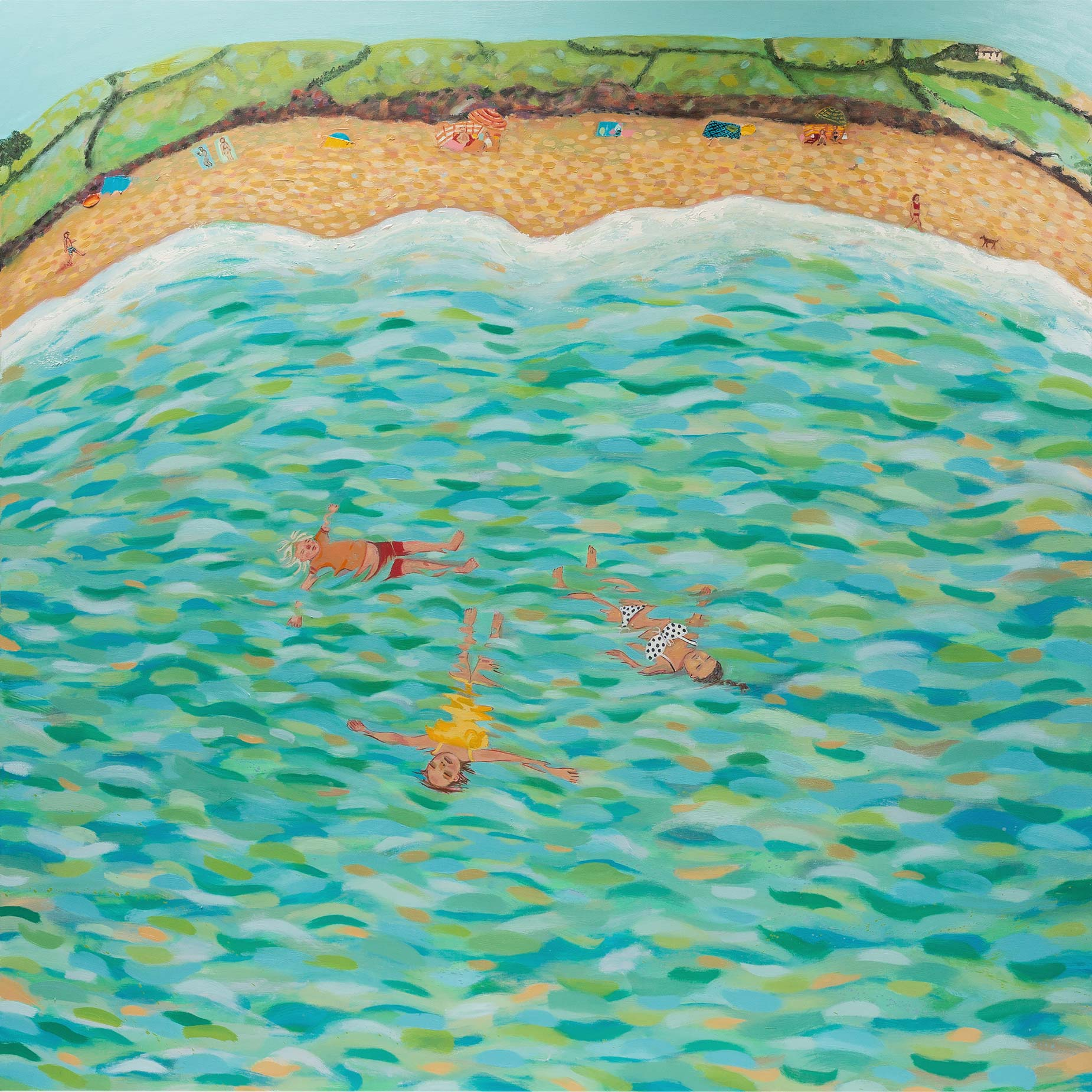 'Coastal Bathers' by Siobhan Purdy, shown at the Byre Gallery